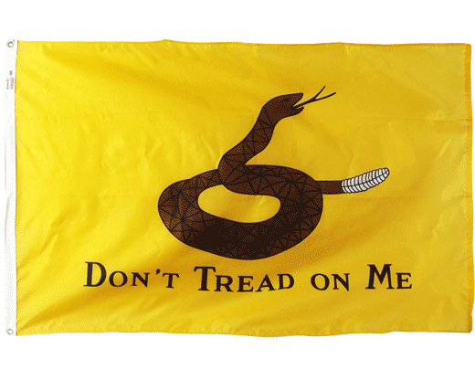 printed nylon gadsden flag with a historically correct brown coiled