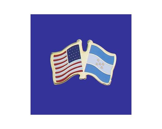 Honduras Lapel Pin (Double Waving Flag w/USA)