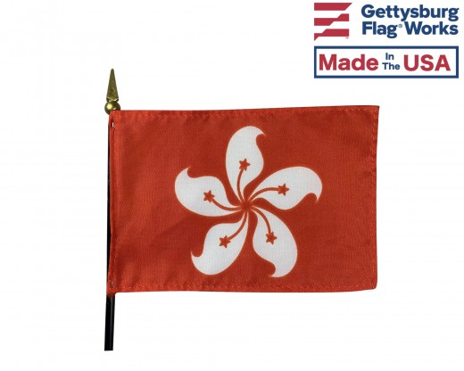 Hong Kong Stick Flag - 4x6""