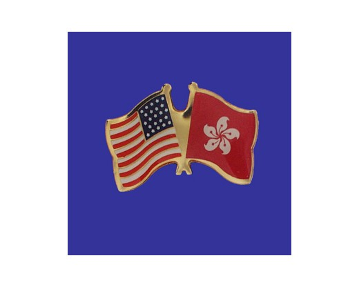 Hong Kong Lapel Pin (Double Waving Flag w/USA) (Imported - Close Out)