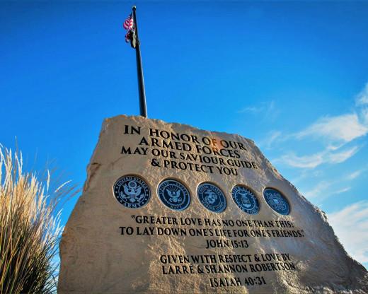 American flag and POW/MIA flag fly at Honor Rock at Grace Bible Church in Idaho