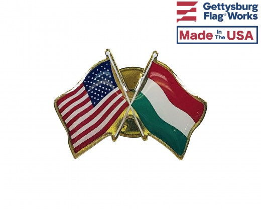 Hungary Lapel Pin (Double Waving Flag w/USA)