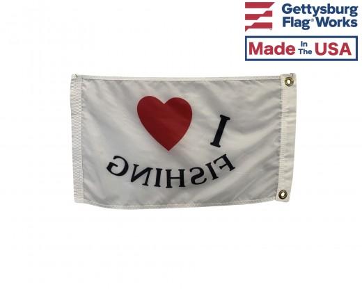 I Love Fishing Flag