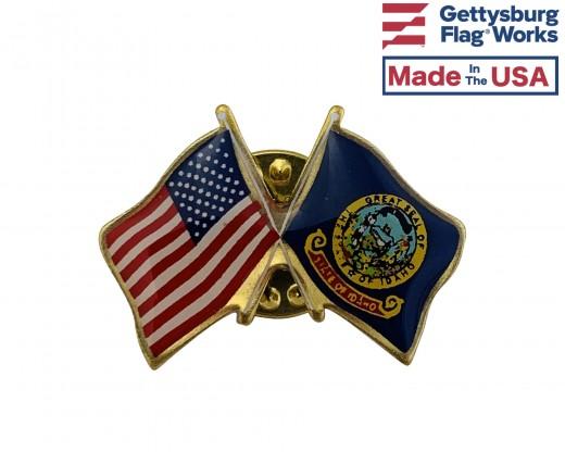 Idaho State Flag Lapel Pin (Double Waving Flag w/USA)