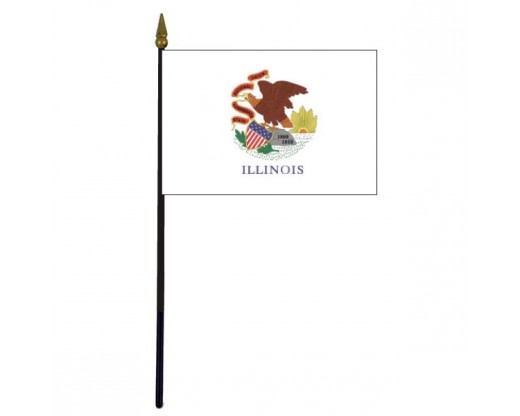 Illinois State Stick Flag - 4x6""