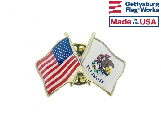 Illinois State Flag Lapel Pin (Double Waving Flag w/USA)