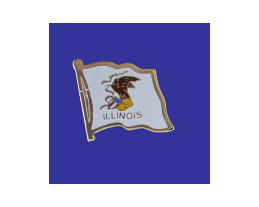 Illinois State Flag Lapel Pin (Single Waving Flag) (Imported - Close Out)