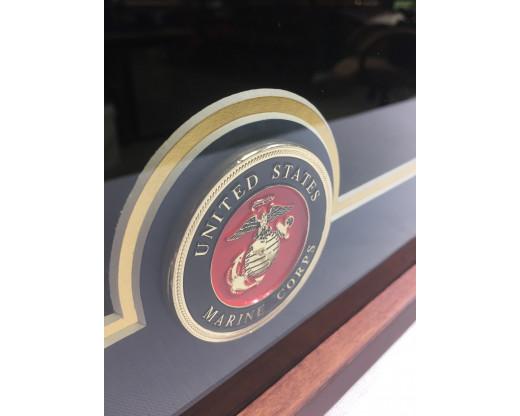U.S. Flag Display Case with U.S. Marine Corps Medallion