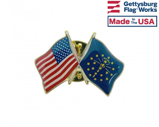 Indiana State Flag Lapel Pin (Double Waving Flag w/USA)