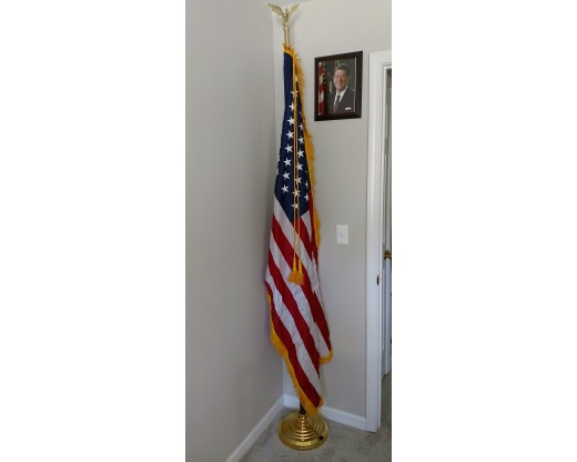 American Indoor Flag Set at home