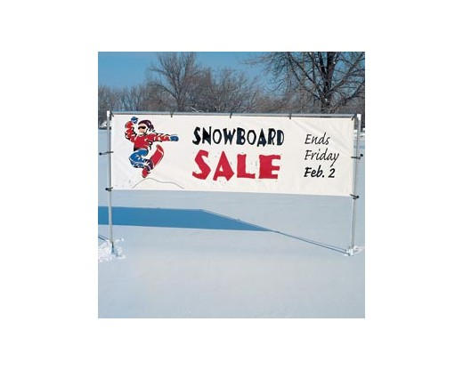 Freestanding in-ground banner frame