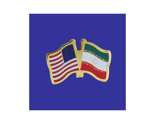 Iran Lapel Pin (Double Waving Flag w/USA)