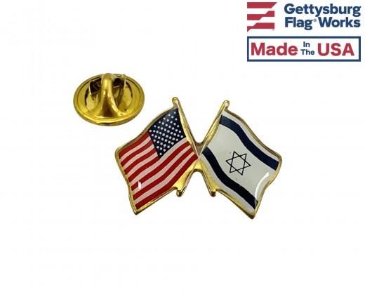 Israel Lapel Pin (Double Waving Flag w/USA)