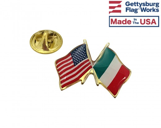 Italy Lapel Pin (Double Waving Flag w/USA)