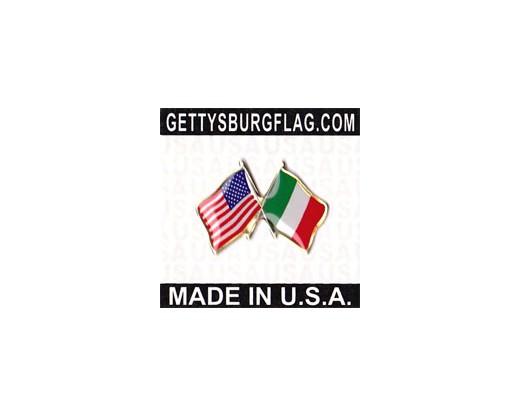 Italy Lapel Pin (Double Waving Flag w/USA)