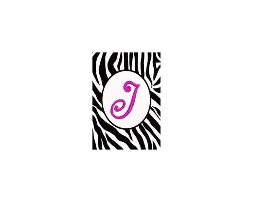 """Zebra Print """"J"""" Garden Flag"""