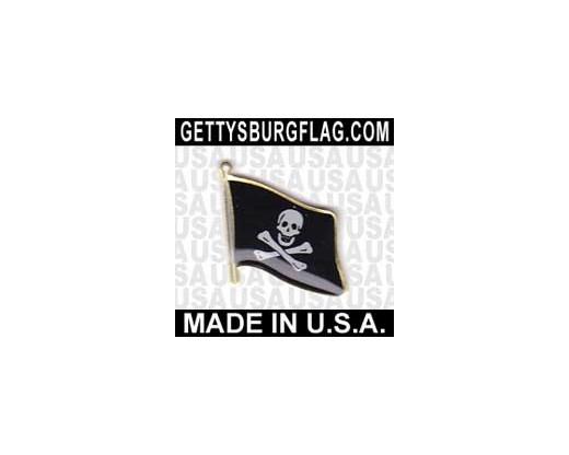 Jolly Roger Lapel Pin (Single Waving Flag)
