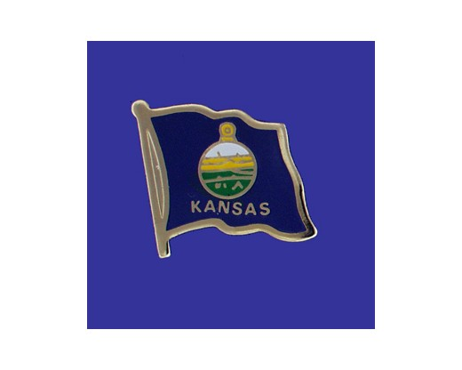 Kansas State Flag Lapel Pin (Single Waving Flag) (Imported - Close Out)