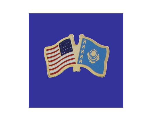 Kazakhstan Lapel Pin (Double Waving Flag w/USA)