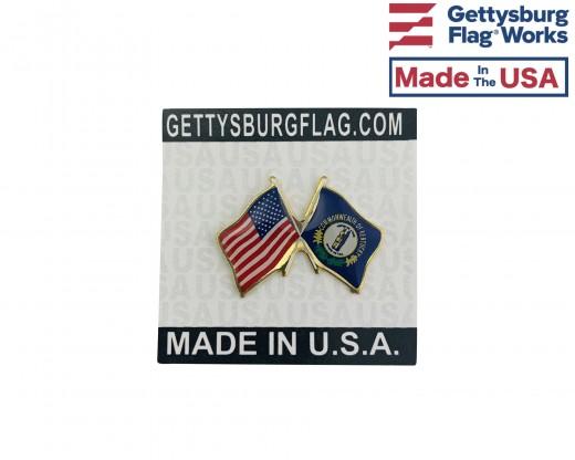 Kentucky State Flag Lapel Pin (Double Waving Flag w/USA)