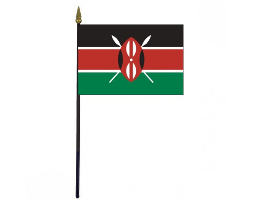 Kenya Stick Flag - 4x6""
