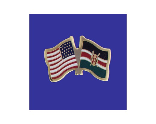 Kenya Lapel Pin (Double Waving Flag w/USA)