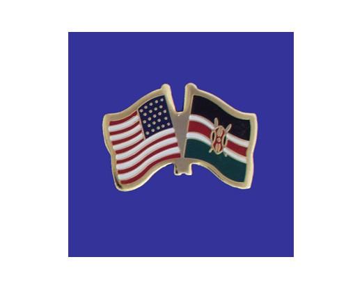 Kenya Lapel Pin (Double Waving Flag w/USA)