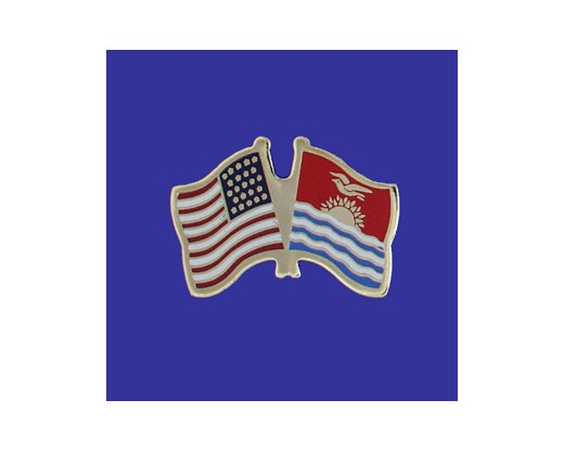 Kiribati Lapel Pin (Double Waving Flag w/USA)