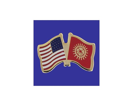 Kyrgyzstan Lapel Pin (Double Waving Flag w/USA)