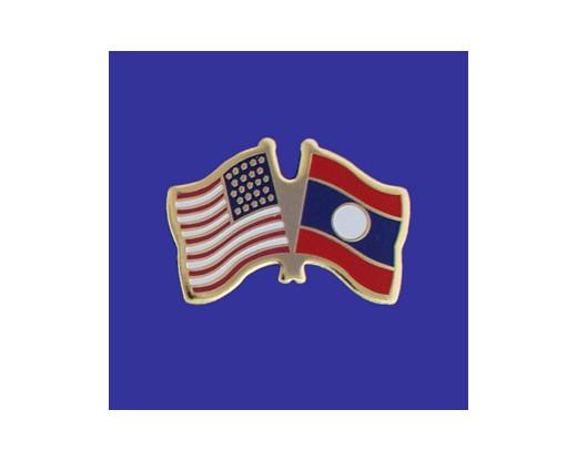 Laos Lapel Pin (Double Waving Flag w/USA)