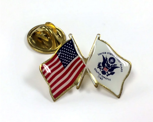 Coast Guard Flag Lapel Pin Clutch