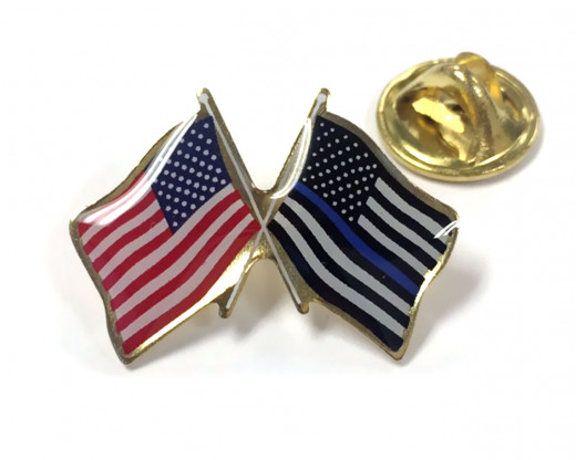 Thin Blue Line & American Flag Pin