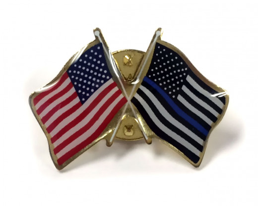 Thin Blue Line & American Flag Crossed Lapel Pins