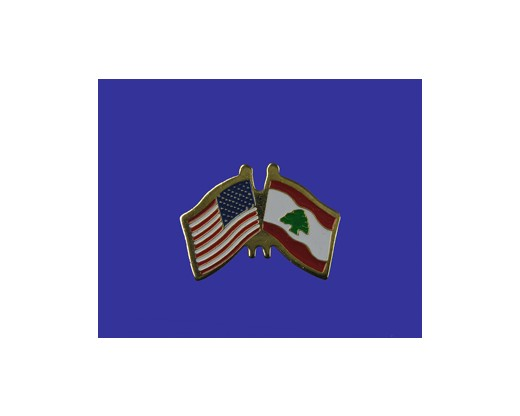 Lebanon Lapel Pin (Double Waving Flag w/USA)