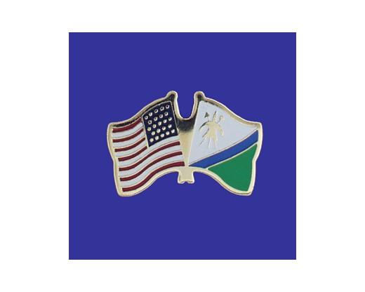 Lesotho Lapel Pin (Double Waving Flag w/USA)