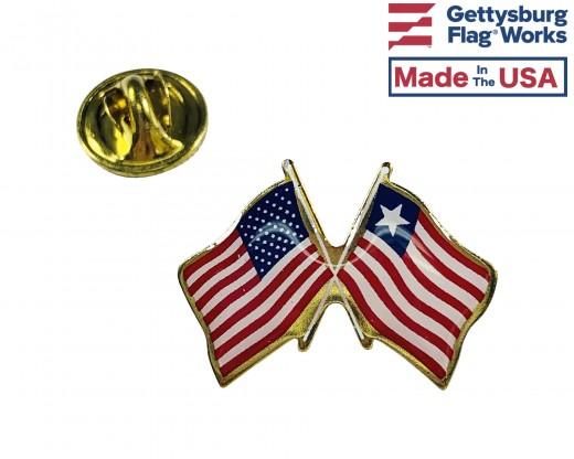 Liberia Lapel Pin (Double Waving Flag w/USA)