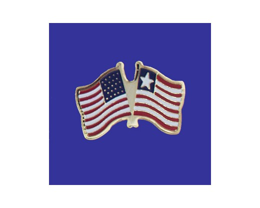 Liberia Lapel Pin (Double Waving Flag w/USA)