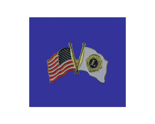 Lions Club Lapel Pin (Double Waving Flag w/USA) (Imported - Close Out)