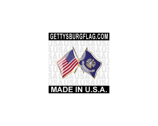Louisiana State Flag Lapel Pin (Double Waving Flag w/USA)