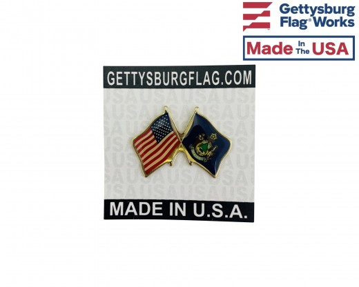 Maine State Flag Lapel Pin (Double Waving Flag w/USA)