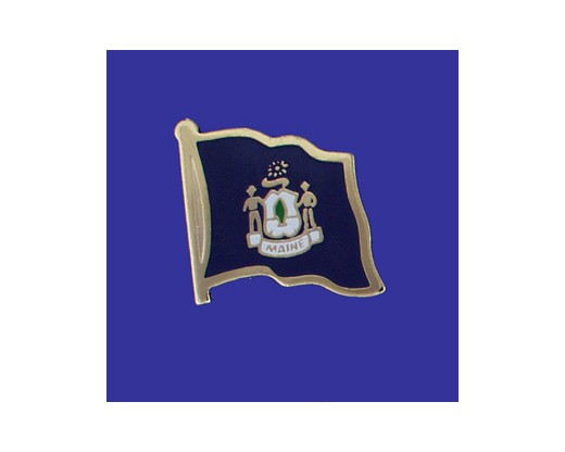 Maine State Flag Lapel Pin (Single Waving Flag) (Imported - Close Out)