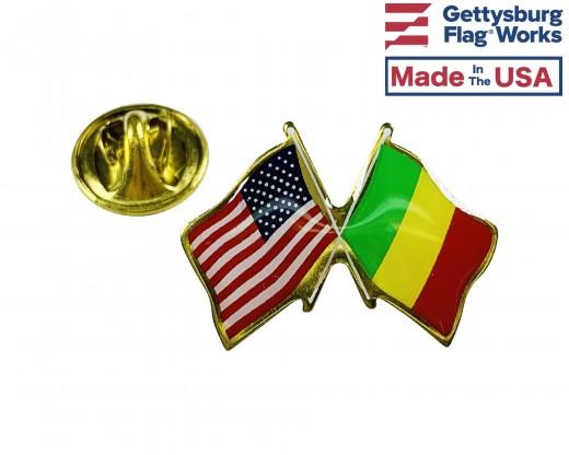 Mali Lapel Pin (Double Waving Flag w/USA)