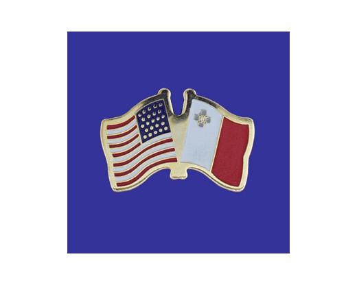 Malta Lapel Pin (Double Waving Flag w/USA)