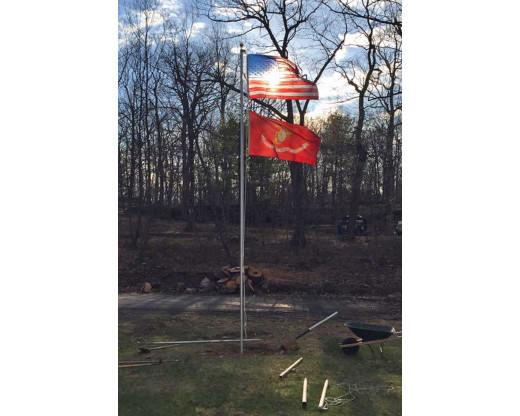 Sectional pole with USA and Marine Corps flags