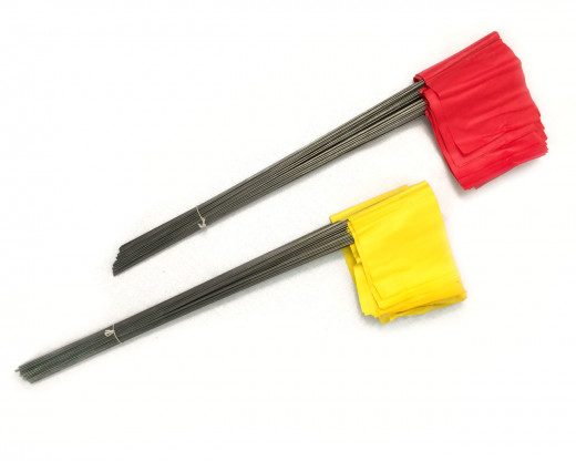 plastic marker flags on metal wire