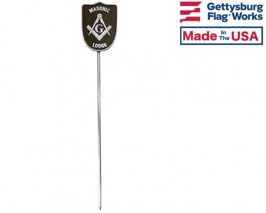 Masonic Grave Marker that holds a flag