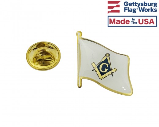 Masonic Lapel Pin (Single Waving Flag)