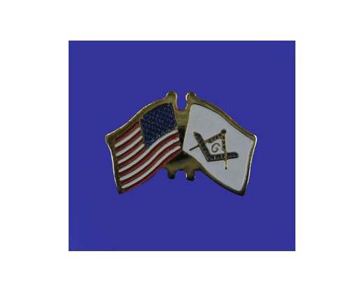 Masonic  Lapel Pin (Double Waving Flag w/USA)