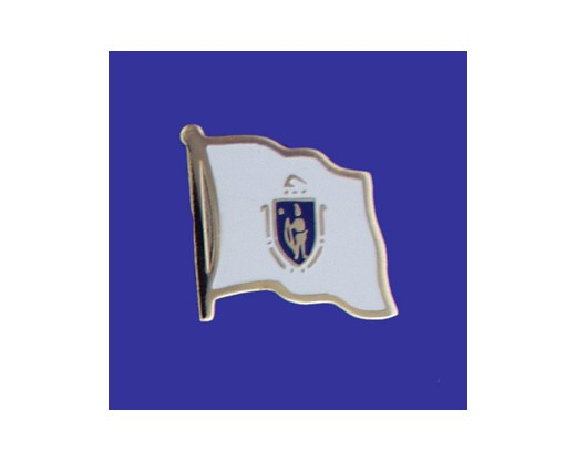 Massachusetts State Flag Lapel Pin (Single Waving Flag) (Imported - Close Out)