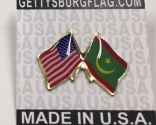 Mauritania Lapel Pin (Double Waving Flag w/USA)